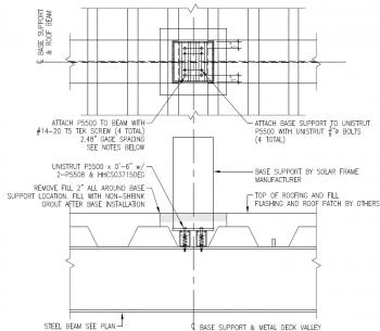 Pedestal support for PV Panel Frames